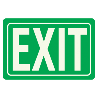 Exit - Glow-In-The-Dark Polished Green Sign