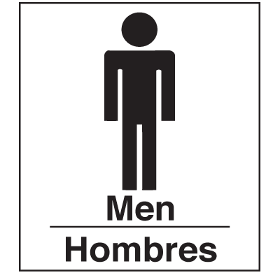 Polished Plastic Office Signs - Men/Hombres