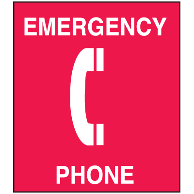 Polished Plastic Office Signs - Emergency Phone