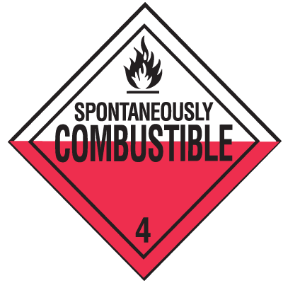 DOT Combustible Hazard Class 4 Material Shipping Labels