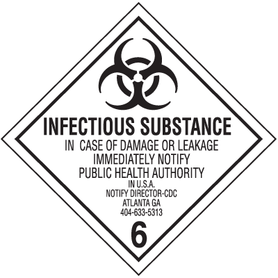 Infectious Substance Hazard Class 6 Material Shipping Labels