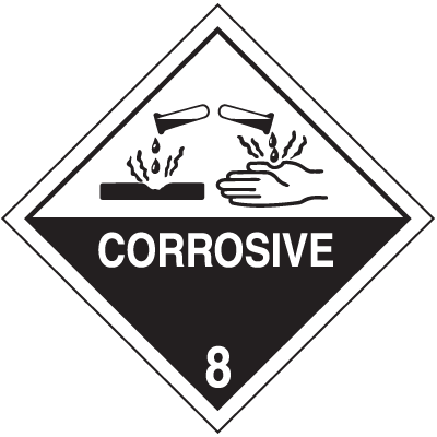DOT Corrosive Hazard Class 8 Material Shipping Labels