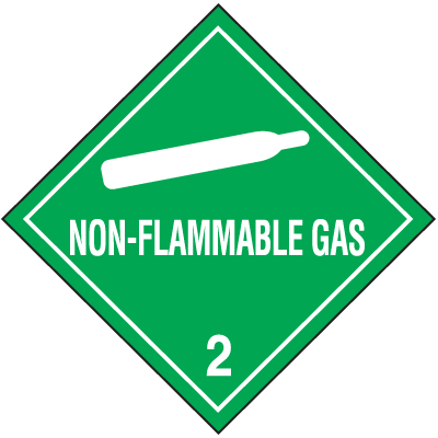 Non-Flammable Gas Hazard Class 2 Material Shipping Labels