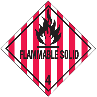 Flammable Solid Hazard Class 4 Material Shipping Labels