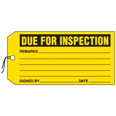 Production Control Tags - Due For Inspection