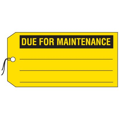 Production Control Tags - Due for Maintenance