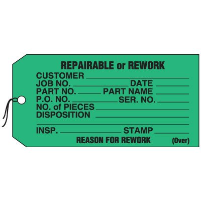 Production Control Tags - Repairable or Rework
