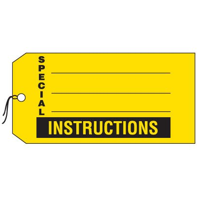 Production Control Tags - Special Instructions