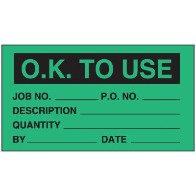 O.K To Use Status Labels