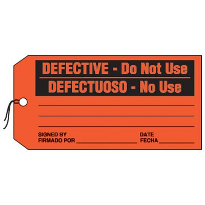Bilingual Defective Production Status Tags