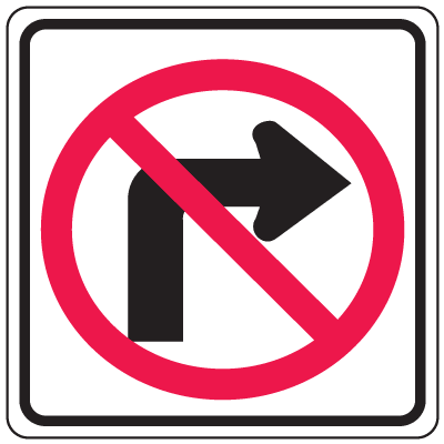 Prohibition Signs - No Right Turn