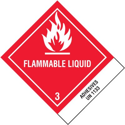 Flammable Liquid UN1133 Shipping Labels