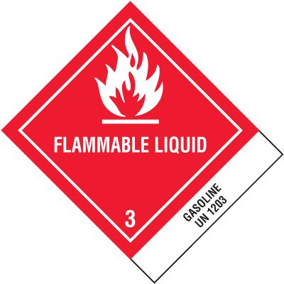 Flammable Liquid Gasoline DOT Shipping Labels