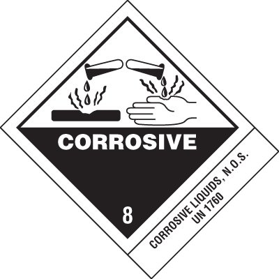 Corrosive Liquids DOT Placard Shipping Labels