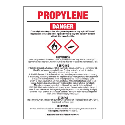 Propylene - GHS Chemical Labels