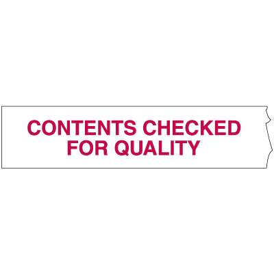 Quality Control Shipping Tape - Contents Checked