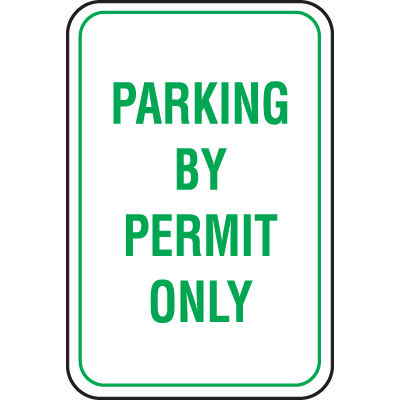 Recycled Plastic Parking Signs - Parking By Permit Only