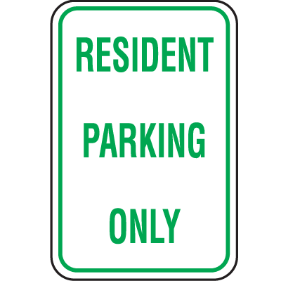 Recycled Plastic Parking Signs - Resident Parking Only