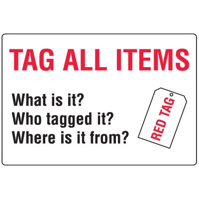 Red Tag Area Wall Signs - Tag All Items