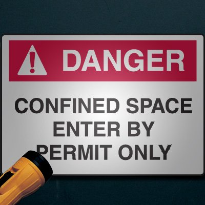 Reflective Confined Space Signs - Danger - Enter By Permit Only