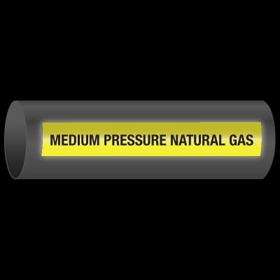 Reflective Opti-Code™ Self-Adhesive Pipe Markers - Medium Pressure Natural Gas