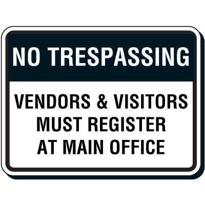 Reflective Parking Lot Signs - No Trespassing Vendors & Visitors