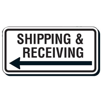Reflective Parking Lot Signs - Shipping & Receiving (Left Arrow)