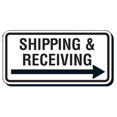 Reflective Parking Lot Signs - Shipping & Receiving (Right Arrow)