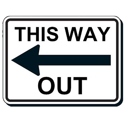 Reflective Parking Lot Signs - This Way Out (Left Arrow)