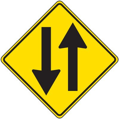 Reflective Warning Signs - 2-Way Traffic Symbol