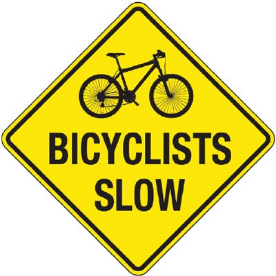 Reflective Warning Signs - Bicyclists Slow