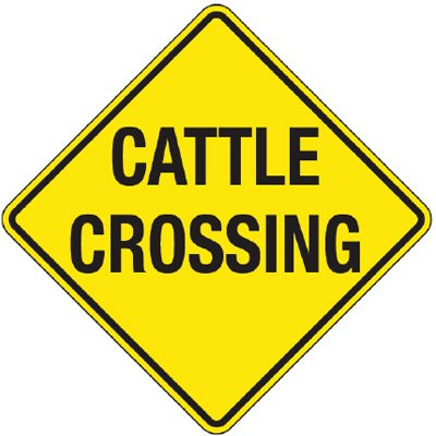 Reflective Warning Signs - Cattle Crossing