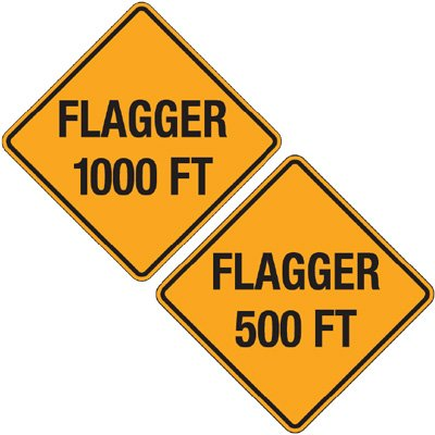 Reflective Warning Signs - Flagger