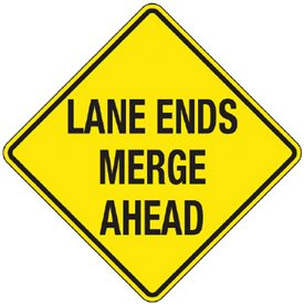 Reflective Warning Signs - Lane Ends Merge Ahead