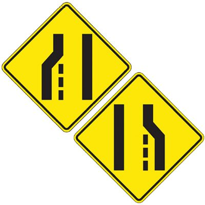 Reflective Warning Signs - Lane Ends (Symbol)