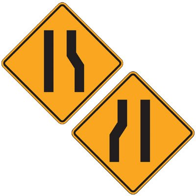 Reflective Warning Signs - Merging Lane (Symbol)