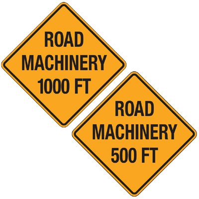 Reflective Warning Signs - Road Machinery