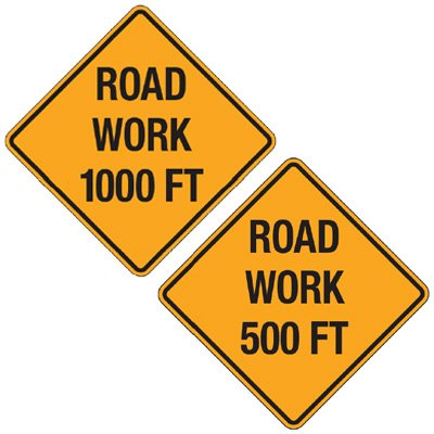 Reflective Warning Signs - Road Work