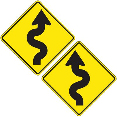 Reflective Warning Signs - Winding Road (Symbol)
