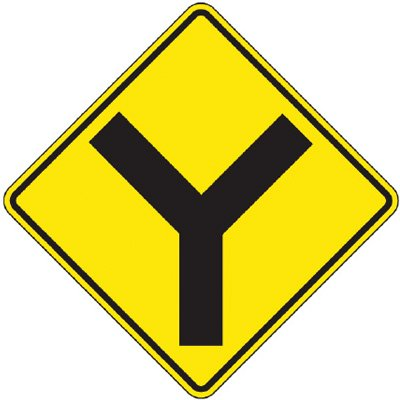 Reflective Warning Signs - Y In The Road (Symbol)