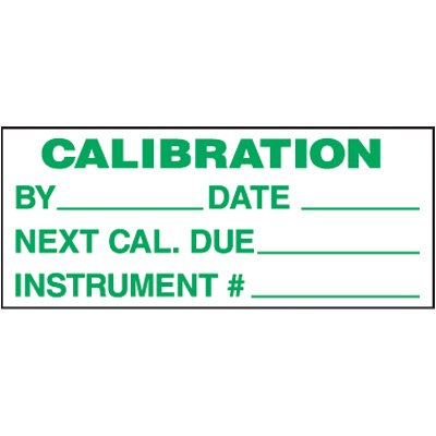 Calibration Removable Write-On Status Labels