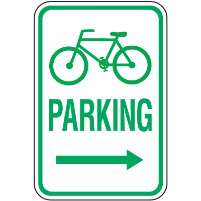 Reserved Parking Signs - Bicycle Parking (Right Arrow)