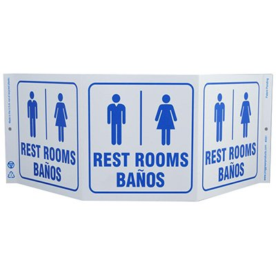 Rest Rooms Banos Bilingual Tri View Sign