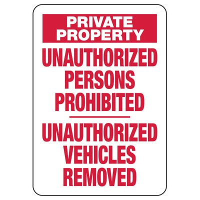 Unauthorized Persons Prohibited - Restricted Access Signs