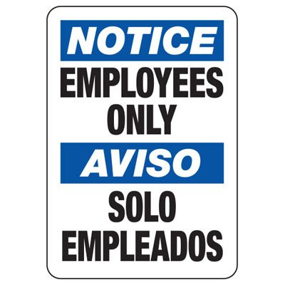 Bilingual Notice Employees Only - Restricted Area Signs