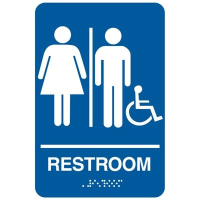 Restroom/Man/Woman/Accessibility - Economy Braille Signs