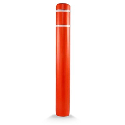 "Post Guard CL1386H ASSY Orange Bollard Cover 7"" x 60"" White Tape"