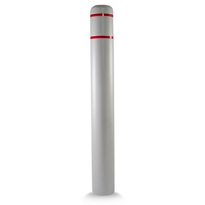 "Post Guard CL1386QRT72 Grey Bollard Cover 7"" x 72"" Red Tape"