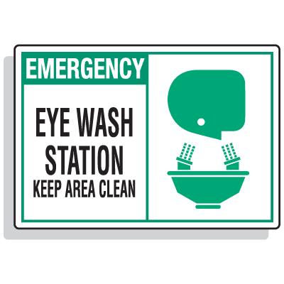 Safety Alert Signs - Emergency - Eye Wash Station Keep Area Clean