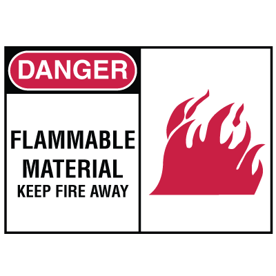Safety Alert Signs - Danger - Flammable Material Keep Fire Away